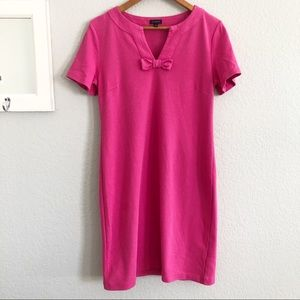 Talbots Pink Cotton Knit Bow Front Shift Dress
